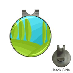 Green and blue landscape Hat Clips with Golf Markers