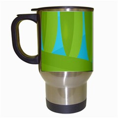 Green and blue landscape Travel Mugs (White)