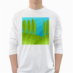 Green and blue landscape White Long Sleeve T-Shirts