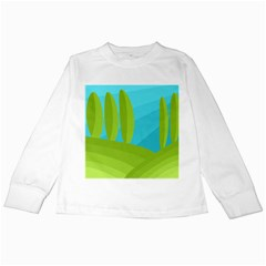 Green and blue landscape Kids Long Sleeve T-Shirts