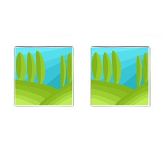 Green and blue landscape Cufflinks (Square)