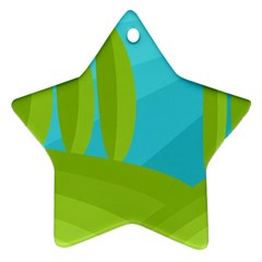Green and blue landscape Star Ornament (Two Sides)