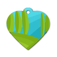 Green and blue landscape Dog Tag Heart (One Side)