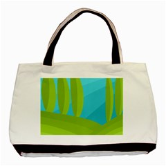 Green and blue landscape Basic Tote Bag (Two Sides)