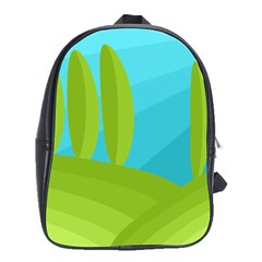 Green and blue landscape School Bags(Large)