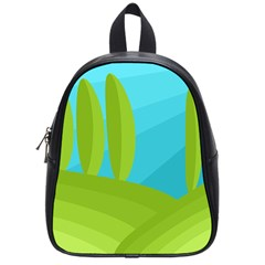 Green and blue landscape School Bags (Small)