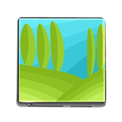 Green and blue landscape Memory Card Reader (Square)