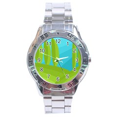 Green and blue landscape Stainless Steel Analogue Watch