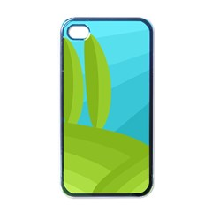 Green and blue landscape Apple iPhone 4 Case (Black)