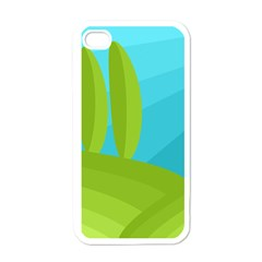 Green and blue landscape Apple iPhone 4 Case (White)