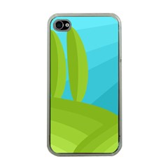 Green and blue landscape Apple iPhone 4 Case (Clear)