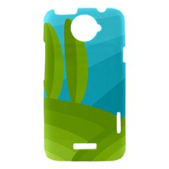 Green and blue landscape HTC One X Hardshell Case