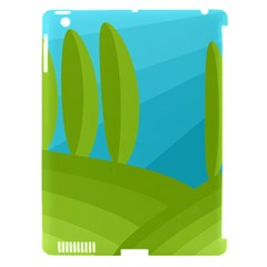 Green and blue landscape Apple iPad 3/4 Hardshell Case (Compatible with Smart Cover)