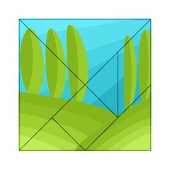 Green and blue landscape Acrylic Tangram Puzzle (6  x 6 )