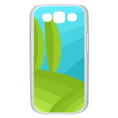 Green and blue landscape Samsung Galaxy S III Case (White)
