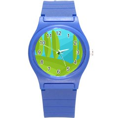 Green and blue landscape Round Plastic Sport Watch (S)
