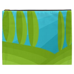 Green and blue landscape Cosmetic Bag (XXXL)