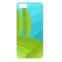 Green and blue landscape Apple iPhone 5 Seamless Case (White)