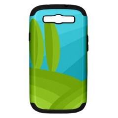 Green and blue landscape Samsung Galaxy S III Hardshell Case (PC+Silicone)