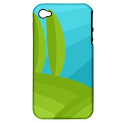 Green and blue landscape Apple iPhone 4/4S Hardshell Case (PC+Silicone)