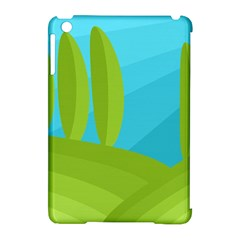 Green and blue landscape Apple iPad Mini Hardshell Case (Compatible with Smart Cover)