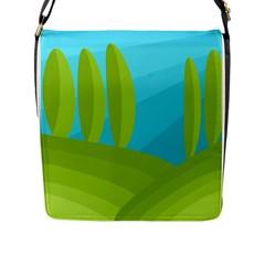 Green and blue landscape Flap Messenger Bag (L)