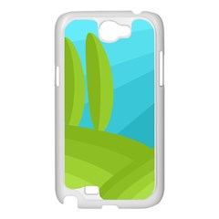 Green and blue landscape Samsung Galaxy Note 2 Case (White)