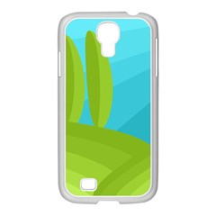 Green and blue landscape Samsung GALAXY S4 I9500/ I9505 Case (White)