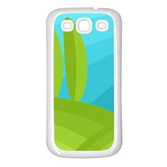 Green and blue landscape Samsung Galaxy S3 Back Case (White)