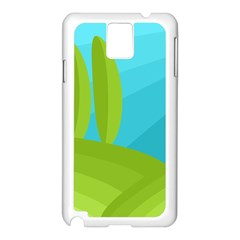 Green and blue landscape Samsung Galaxy Note 3 N9005 Case (White)
