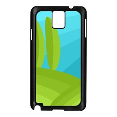 Green and blue landscape Samsung Galaxy Note 3 N9005 Case (Black)