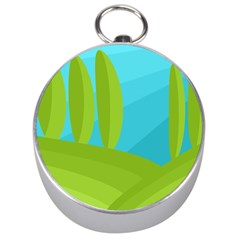 Green and blue landscape Silver Compasses