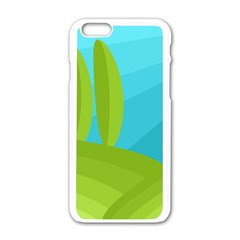 Green and blue landscape Apple iPhone 6/6S White Enamel Case