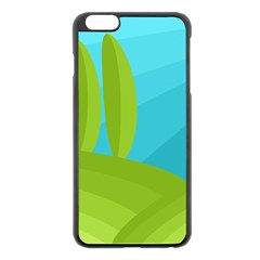 Green and blue landscape Apple iPhone 6 Plus/6S Plus Black Enamel Case