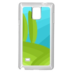 Green and blue landscape Samsung Galaxy Note 4 Case (White)