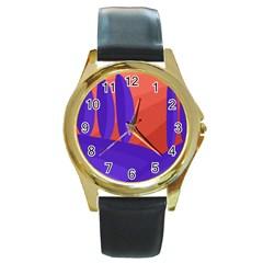 Purple and orange landscape Round Gold Metal Watch