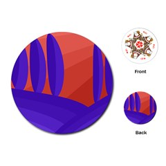 Purple and orange landscape Playing Cards (Round)