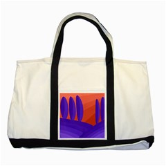 Purple and orange landscape Two Tone Tote Bag