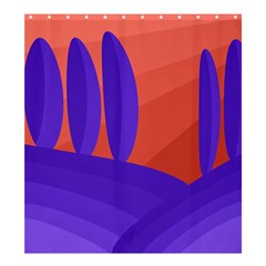 Purple and orange landscape Shower Curtain 66  x 72  (Large)