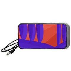 Purple and orange landscape Portable Speaker (Black)