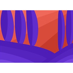 Purple And Orange Landscape Birthday Cake 3d Greeting Card (7x5)