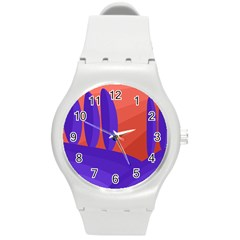 Purple and orange landscape Round Plastic Sport Watch (M)
