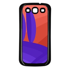 Purple and orange landscape Samsung Galaxy S3 Back Case (Black)