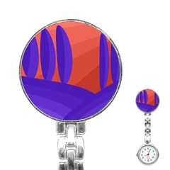 Purple and orange landscape Stainless Steel Nurses Watch