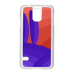 Purple and orange landscape Samsung Galaxy S5 Case (White)