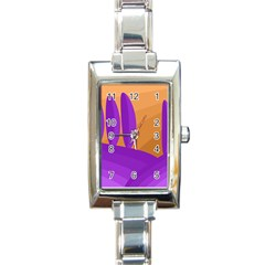 Orange and purple landscape Rectangle Italian Charm Watch