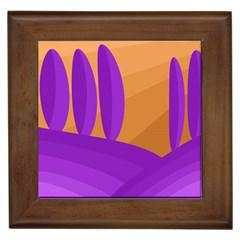 Orange and purple landscape Framed Tiles