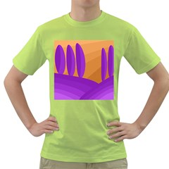 Orange and purple landscape Green T-Shirt