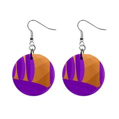 Orange and purple landscape Mini Button Earrings