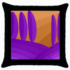 Orange and purple landscape Throw Pillow Case (Black)